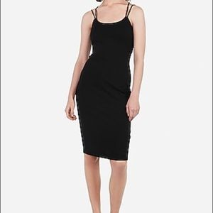 NWT Black Strappy Sheath Midi Dress Cut Out Back
